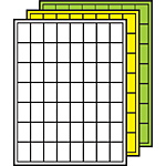 """Colored Processing Labels 1-1/2"""" x 1"""" Square Corners"""