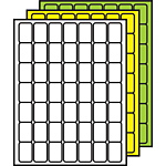 """Colored Processing Labels 1-1/2"""" x 1"""" Rounded Corners"""