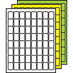 "Colored Multipurpose Processing Labels 1-1/4"" x 7/8"""